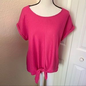 Anthropologie W5 Pink Cropped Sleeves Tie Blouse L
